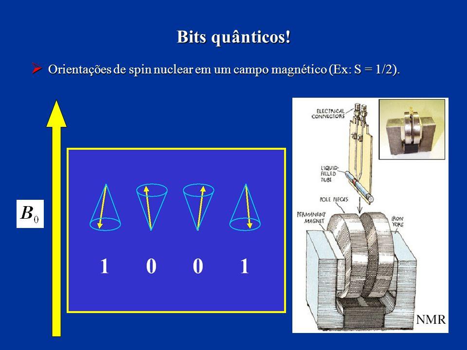 Bits quânticos! Orientações de spin nuclear em um campo magnético (Ex: S = 1/2). Orientações de spin nuclear em um campo magnético (Ex: S = 1/2).