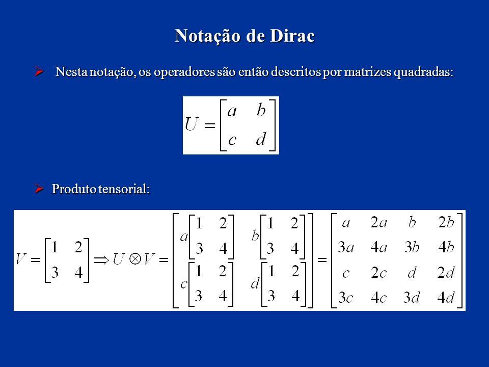 Nesta notação, os operadores são então descritos por matrizes quadradas: Nesta notação, os operadores são então descritos por matrizes quadradas: Prod