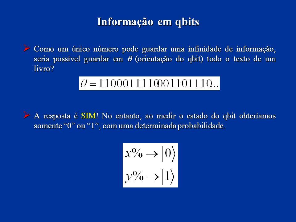 Como um único número pode guardar uma infinidade de informação, seria possível guardar em (orientação do qbit) todo o texto de um livro? Como um único