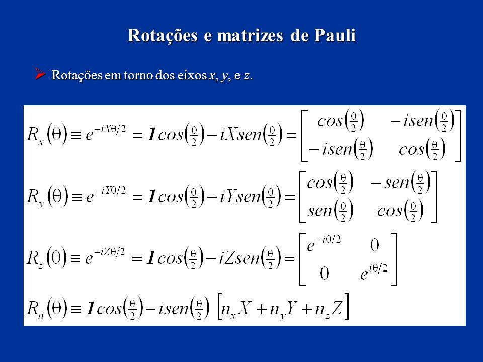 Rotações em torno dos eixos x, y, e z. Rotações em torno dos eixos x, y, e z. Rotações e matrizes de Pauli