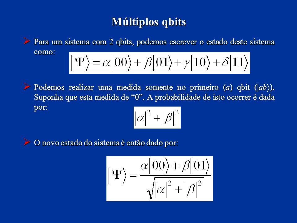 Para um sistema com 2 qbits, podemos escrever o estado deste sistema como: Para um sistema com 2 qbits, podemos escrever o estado deste sistema como: