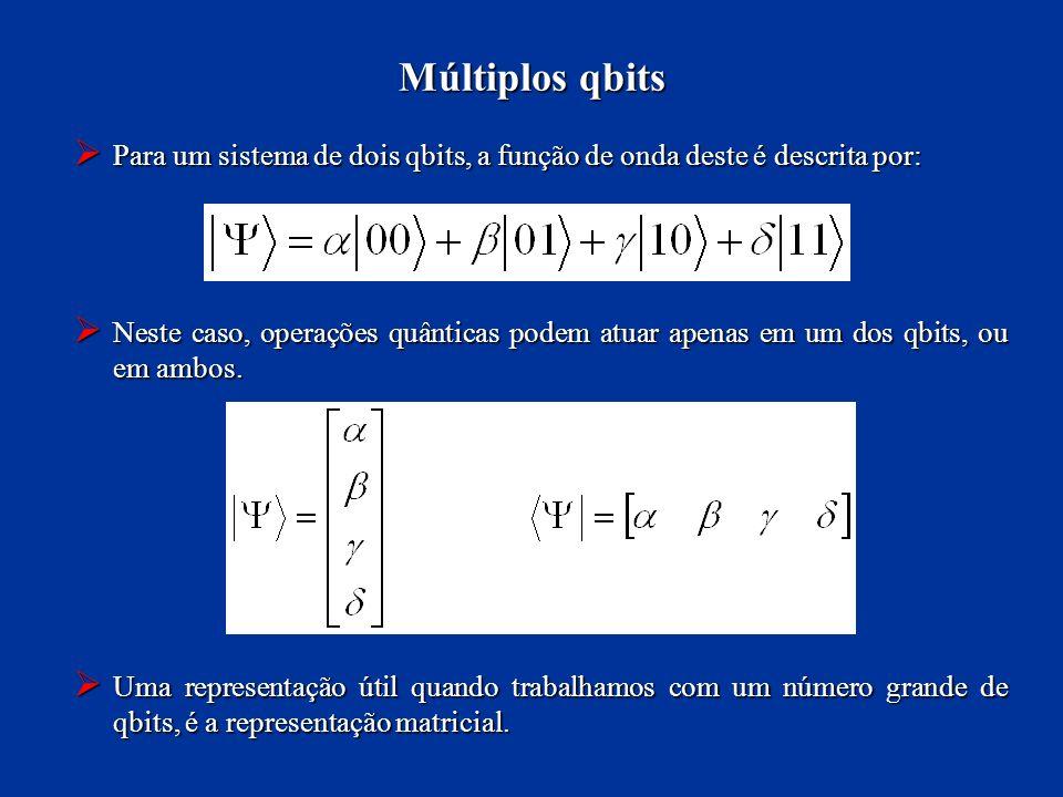 Para um sistema de dois qbits, a função de onda deste é descrita por: Para um sistema de dois qbits, a função de onda deste é descrita por: Neste caso