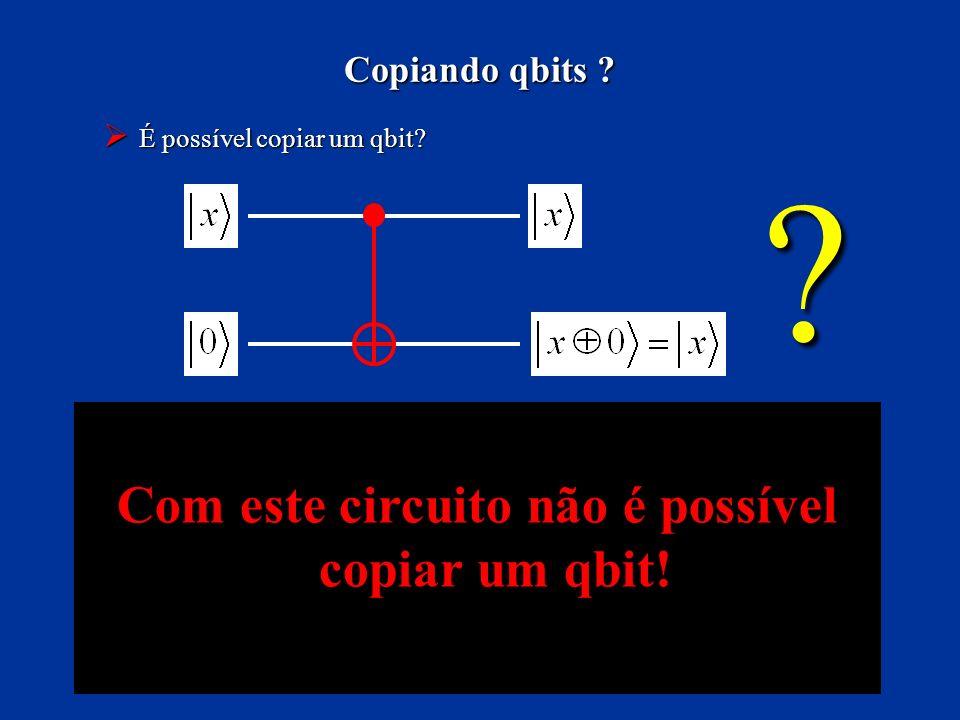 É possível copiar um qbit? É possível copiar um qbit? Copiando qbits ? ? Com este circuito não é possível copiar um qbit!
