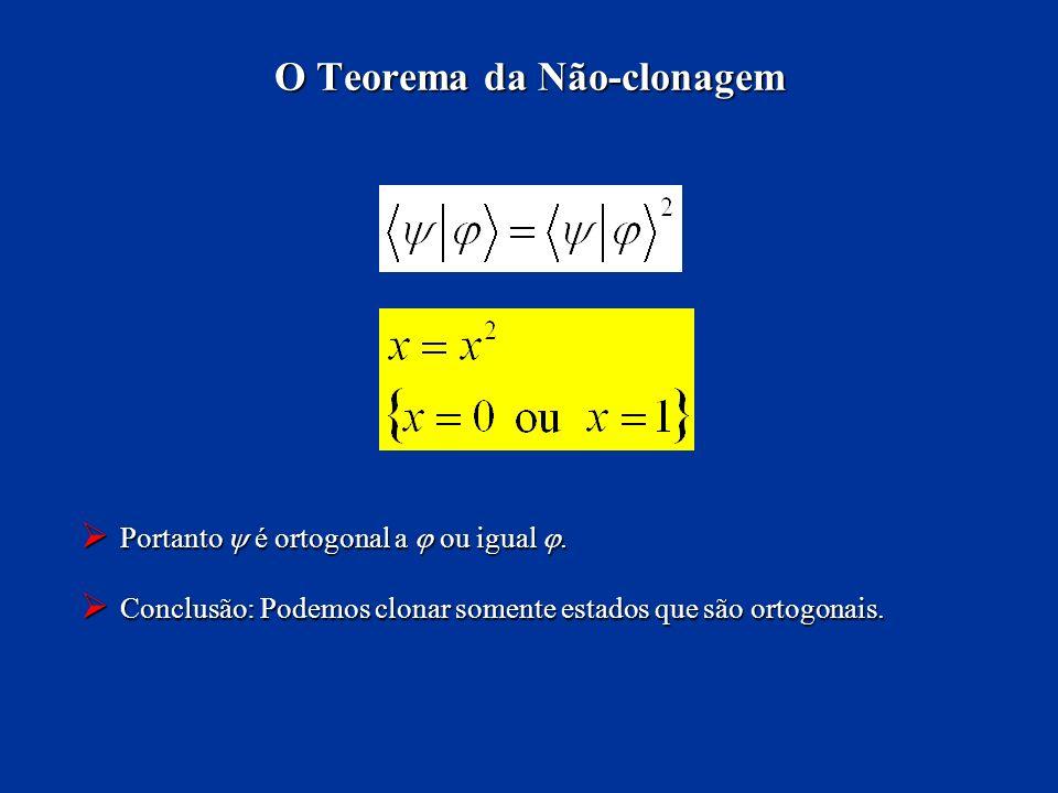 Portanto é ortogonal a ou igual. Portanto é ortogonal a ou igual. Conclusão: Podemos clonar somente estados que são ortogonais. Conclusão: Podemos clo