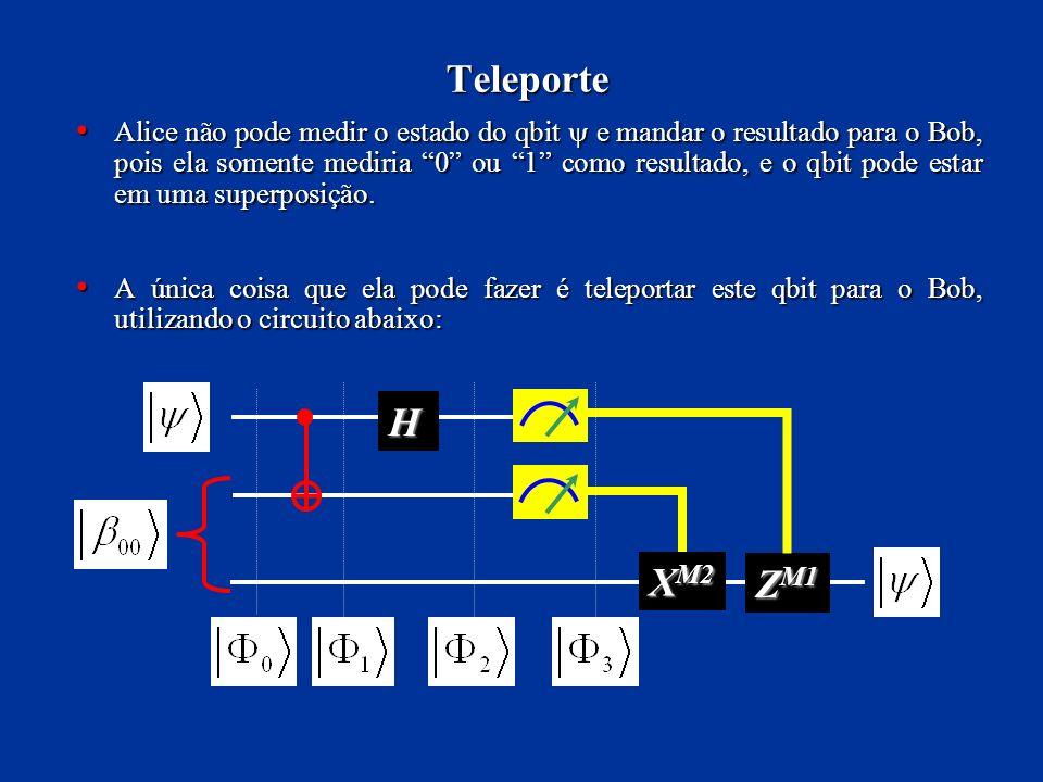 Teleporte Alice não pode medir o estado do qbit e mandar o resultado para o Bob, pois ela somente mediria 0 ou 1 como resultado, e o qbit pode estar e