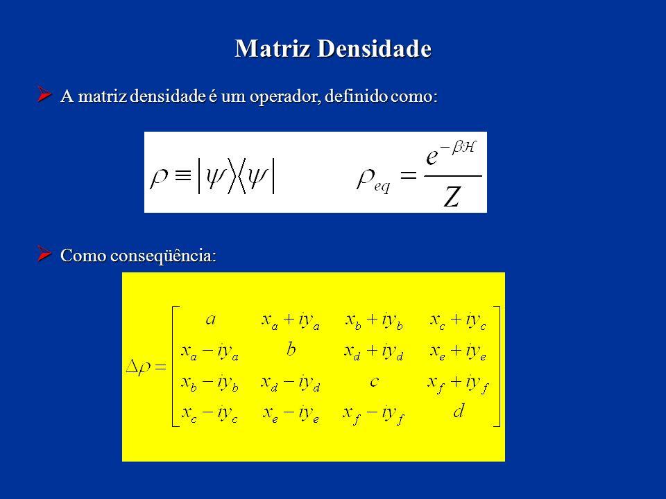 A matriz densidade é um operador, definido como: A matriz densidade é um operador, definido como: Como conseqüência: Como conseqüência: Matriz Densida