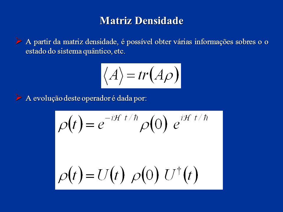 A partir da matriz densidade, é possível obter várias informações sobres o o estado do sistema quântico, etc. A partir da matriz densidade, é possível