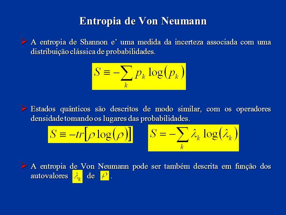 A entropia de Shannon e uma medida da incerteza associada com uma distribuição clássica de probabilidades. A entropia de Shannon e uma medida da incer