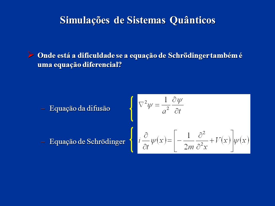 Simulações de Sistemas Quânticos Onde está a dificuldade se a equação de Schrödinger também é uma equação diferencial? Onde está a dificuldade se a eq