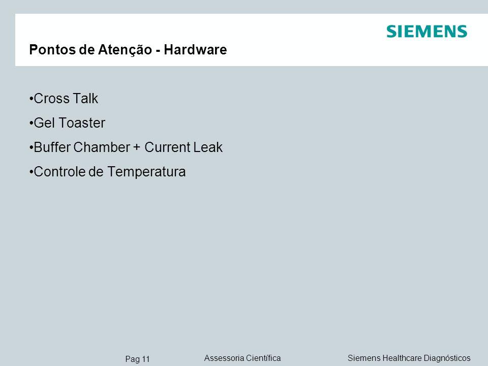 Pag 11 Siemens Healthcare DiagnósticosAssessoria Científica Pontos de Atenção - Hardware Cross Talk Gel Toaster Buffer Chamber + Current Leak Controle