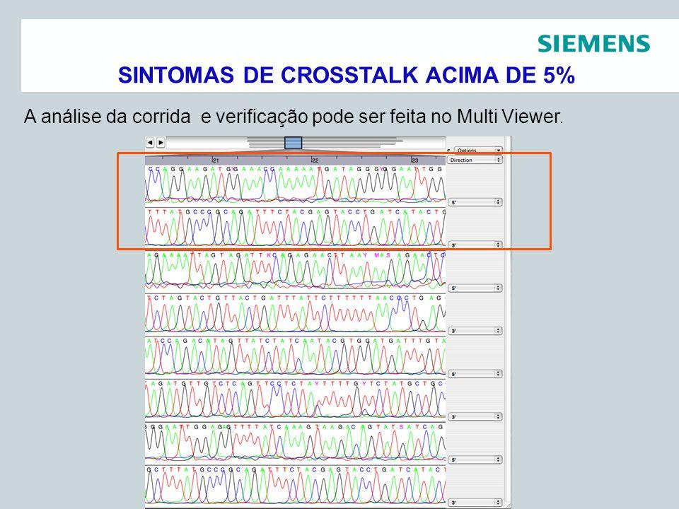 Pag 14 Siemens Healthcare DiagnósticosAssessoria Científica A análise da corrida e verificação pode ser feita no Multi Viewer. SINTOMAS DE CROSSTALK A