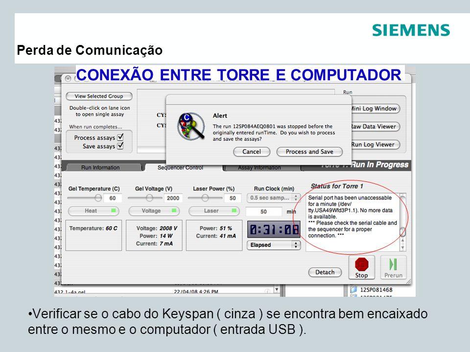 Pag 24 Siemens Healthcare DiagnósticosAssessoria Científica Perda de Comunicação Verificar se o cabo do Keyspan ( cinza ) se encontra bem encaixado en