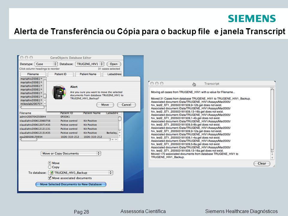 Pag 28 Siemens Healthcare DiagnósticosAssessoria Científica Alerta de Transferência ou Cópia para o backup file e janela Transcript