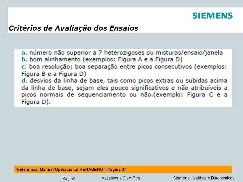 Pag 34 Siemens Healthcare DiagnósticosAssessoria Científica Critérios de Avaliação dos Ensaios Referência: Manual Operacional RENAGENO – Página 37