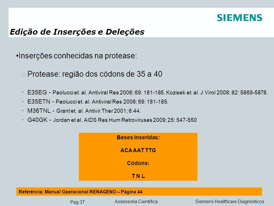 Pag 37 Siemens Healthcare DiagnósticosAssessoria Científica Edição de Inserções e Deleções Inserções conhecidas na protease: o Protease: região dos có