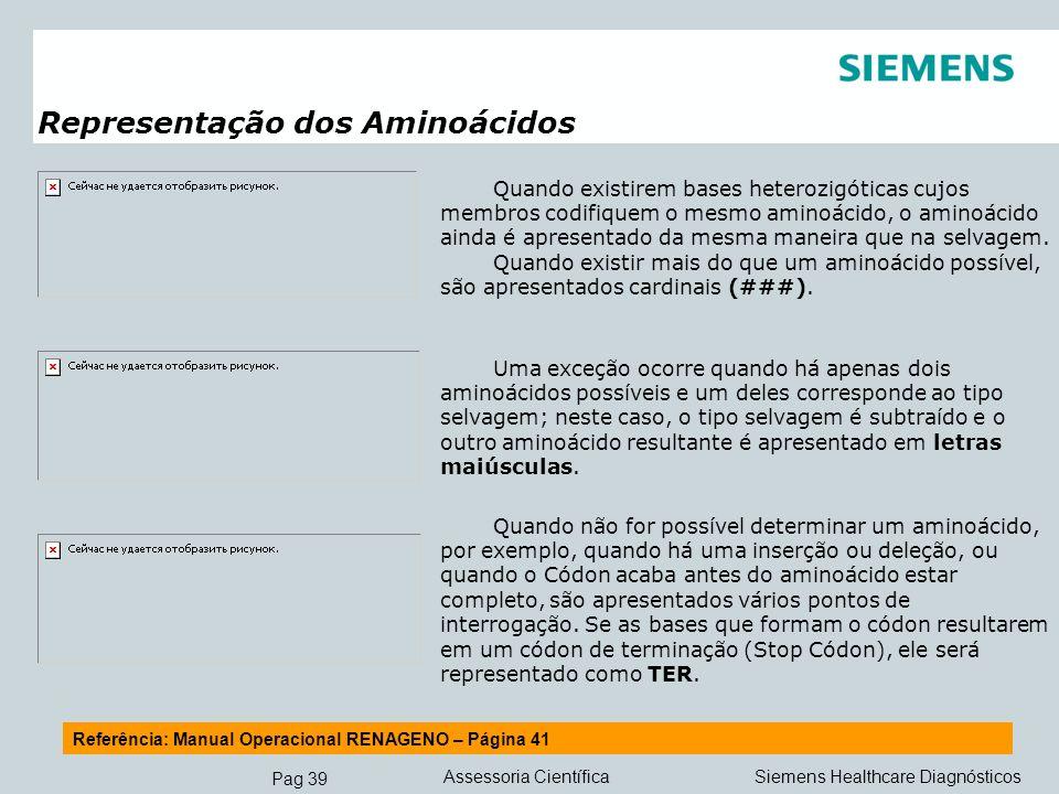 Pag 39 Siemens Healthcare DiagnósticosAssessoria Científica Referência: Manual Operacional RENAGENO – Página 41 Representação dos Aminoácidos Quando e