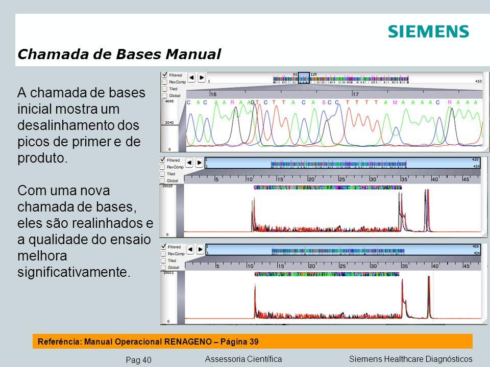 Pag 40 Siemens Healthcare DiagnósticosAssessoria Científica Chamada de Bases Manual A chamada de bases inicial mostra um desalinhamento dos picos de p