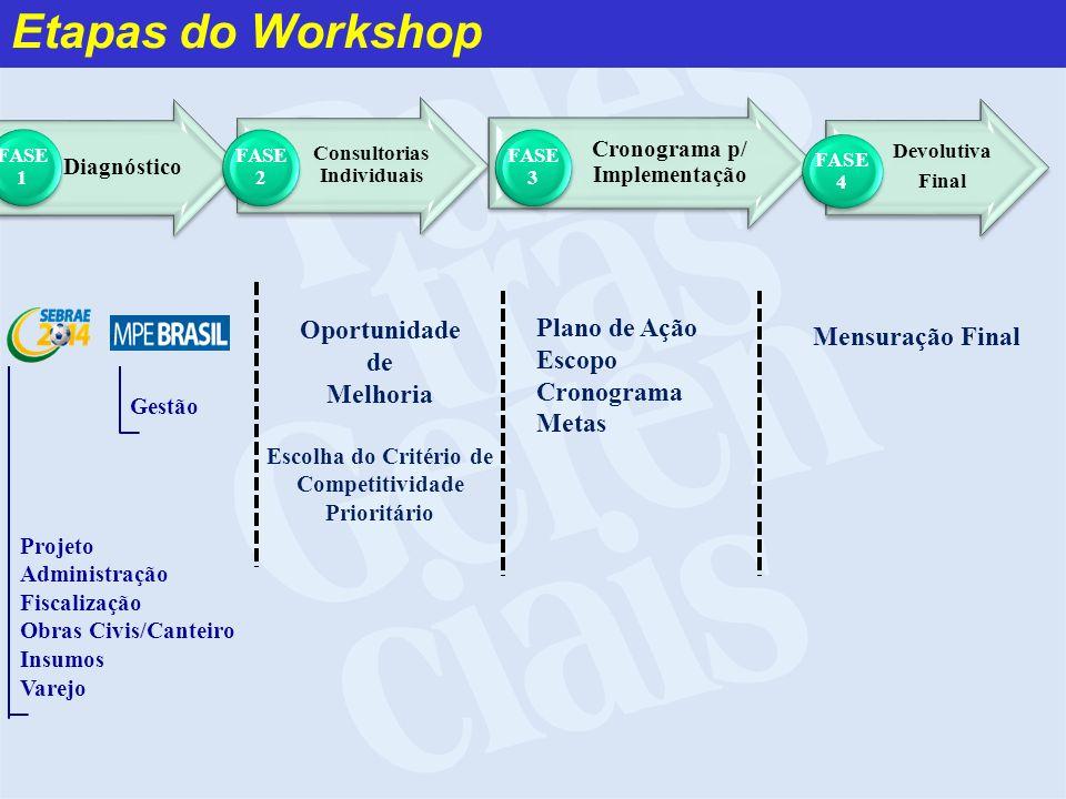 Etapas do Workshop Diagnóstico FASE 1 Consultorias Individuais FASE 2 Cronograma p/ Implementação FASE 3 Devolutiva Final FASE 4 Oportunidade de Melho