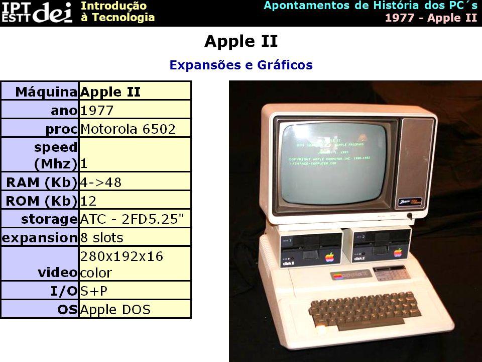 Introdução à Tecnologia Apontamentos de História dos PC´s 1977 - Apple II Apple II Expansões e Gráficos
