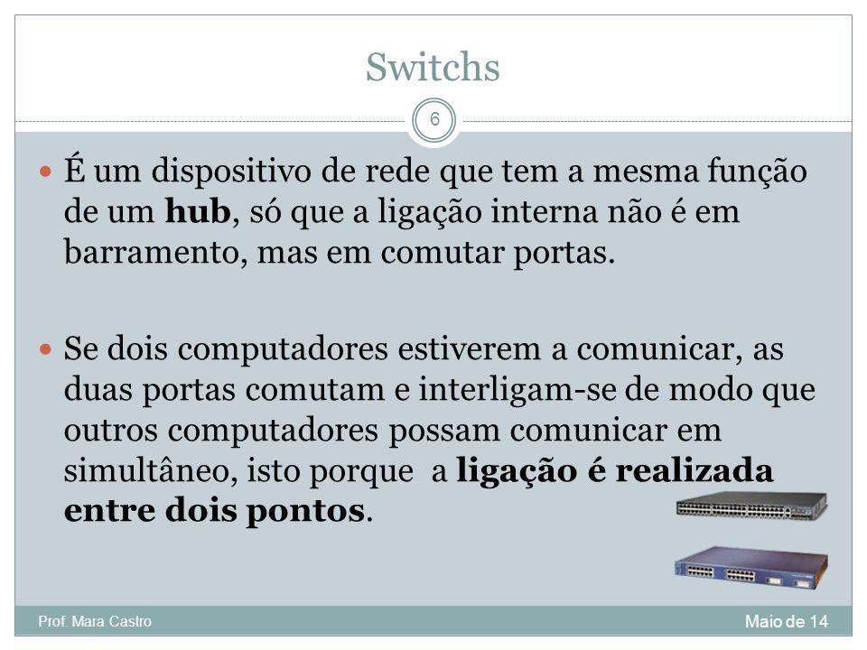 Switchs É um dispositivo de rede que tem a mesma função de um hub, só que a ligação interna não é em barramento, mas em comutar portas. Se dois comput