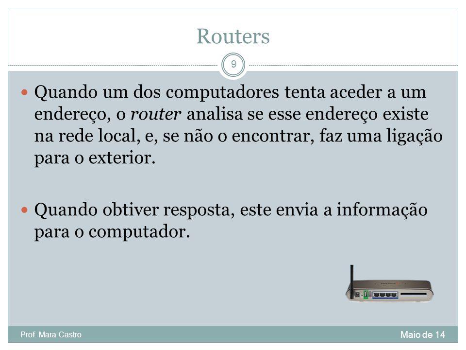 Routers Quando um dos computadores tenta aceder a um endereço, o router analisa se esse endereço existe na rede local, e, se não o encontrar, faz uma