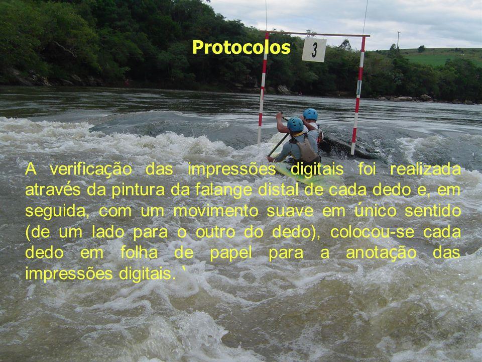 Protocolos A verifica ç ão das impressões digitais foi realizada atrav é s da pintura da falange distal de cada dedo e, em seguida, com um movimento s