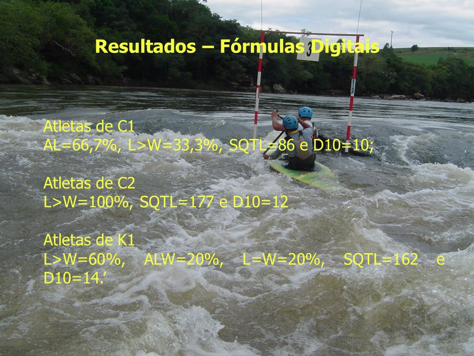 Resultados – Fórmulas Digitais Atletas de C1 AL=66,7%, L>W=33,3%, SQTL=86 e D10=10; Atletas de C2 L>W=100%, SQTL=177 e D10=12 Atletas de K1 L>W=60%, A