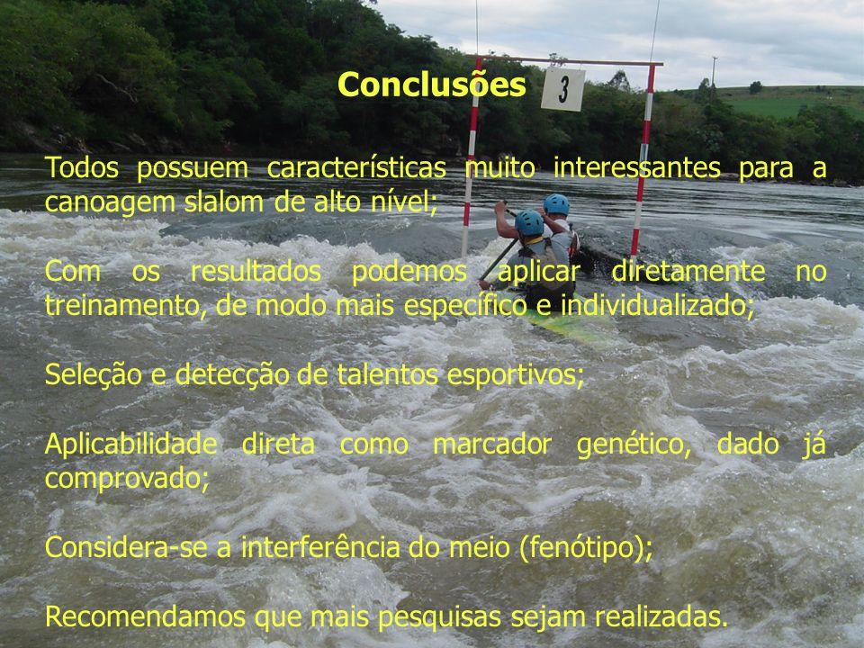 Conclusões Todos possuem características muito interessantes para a canoagem slalom de alto nível; Com os resultados podemos aplicar diretamente no tr