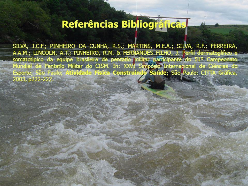 Referências Bibliográficas SILVA, J.C.F.; PINHEIRO DA CUNHA, R.S.; MARTINS, M.E.A.; SILVA, R.F.; FERREIRA, A.A.M.; LINCOLN, A.T.; PINHEIRO, R.M. & FER