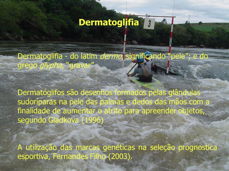 Dermatoglifia Dermatoglifia - do latim dermo, significando pele; e do grego glypha, gravar Dermatóglifos são desenhos formados pelas glândulas sudoríp