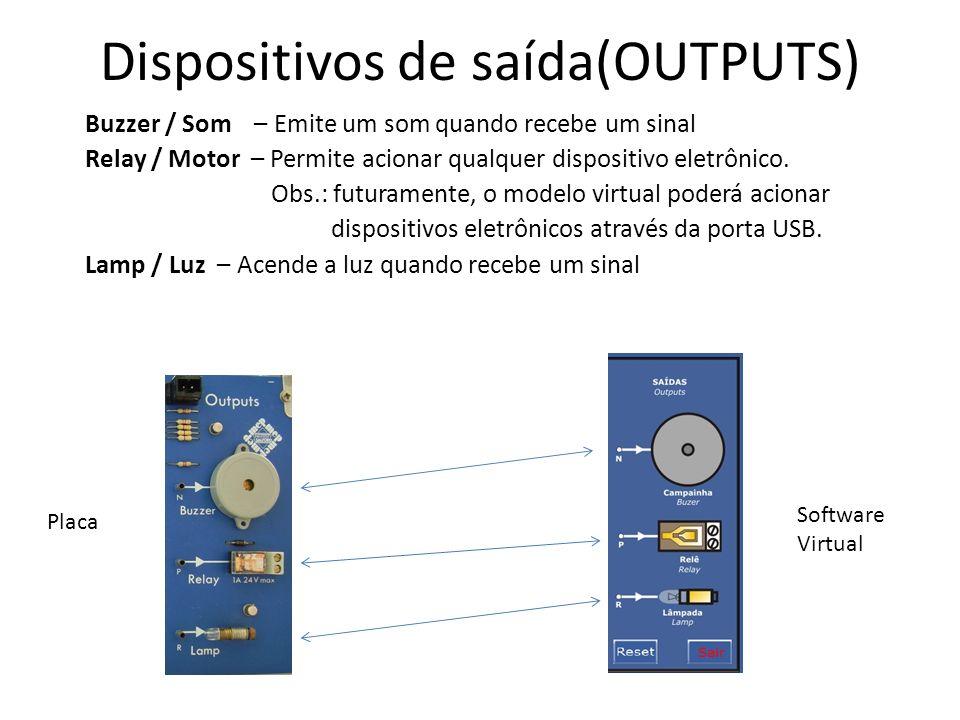 Dispositivos de saída(OUTPUTS) Buzzer / Som – Emite um som quando recebe um sinal Relay / Motor – Permite acionar qualquer dispositivo eletrônico. Obs