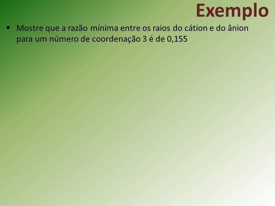 Exemplo Mostre que a razão mínima entre os raios do cátion e do ânion para um número de coordenação 3 é de 0,155