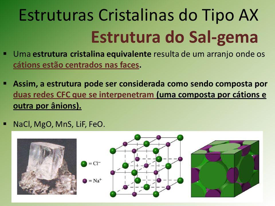 Estruturas Cristalinas do Tipo AX Estrutura do Sal-gema Uma estrutura cristalina equivalente resulta de um arranjo onde os cátions estão centrados nas faces.