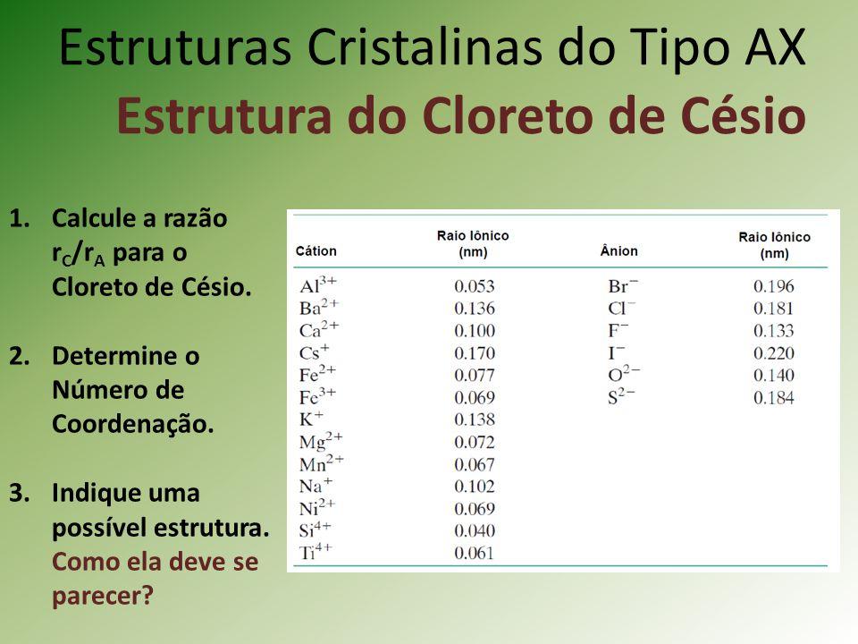 Estruturas Cristalinas do Tipo AX Estrutura do Cloreto de Césio 1.Calcule a razão r C /r A para o Cloreto de Césio.