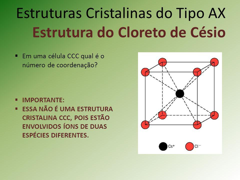 Estruturas Cristalinas do Tipo AX Estrutura do Cloreto de Césio Em uma célula CCC qual é o número de coordenação.