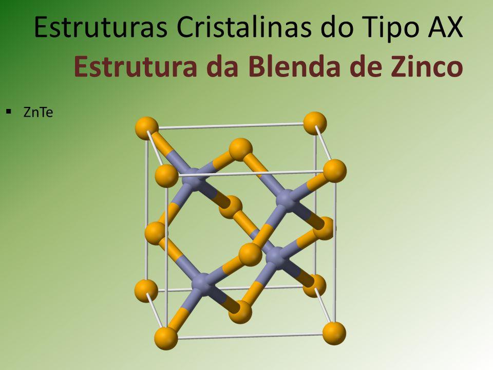 Estruturas Cristalinas do Tipo AX Estrutura da Blenda de Zinco ZnTe