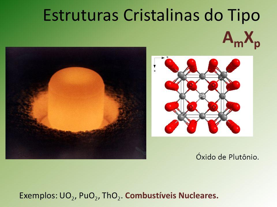 Estruturas Cristalinas do Tipo A m X p Exemplos: UO 2, PuO 2, ThO 2.