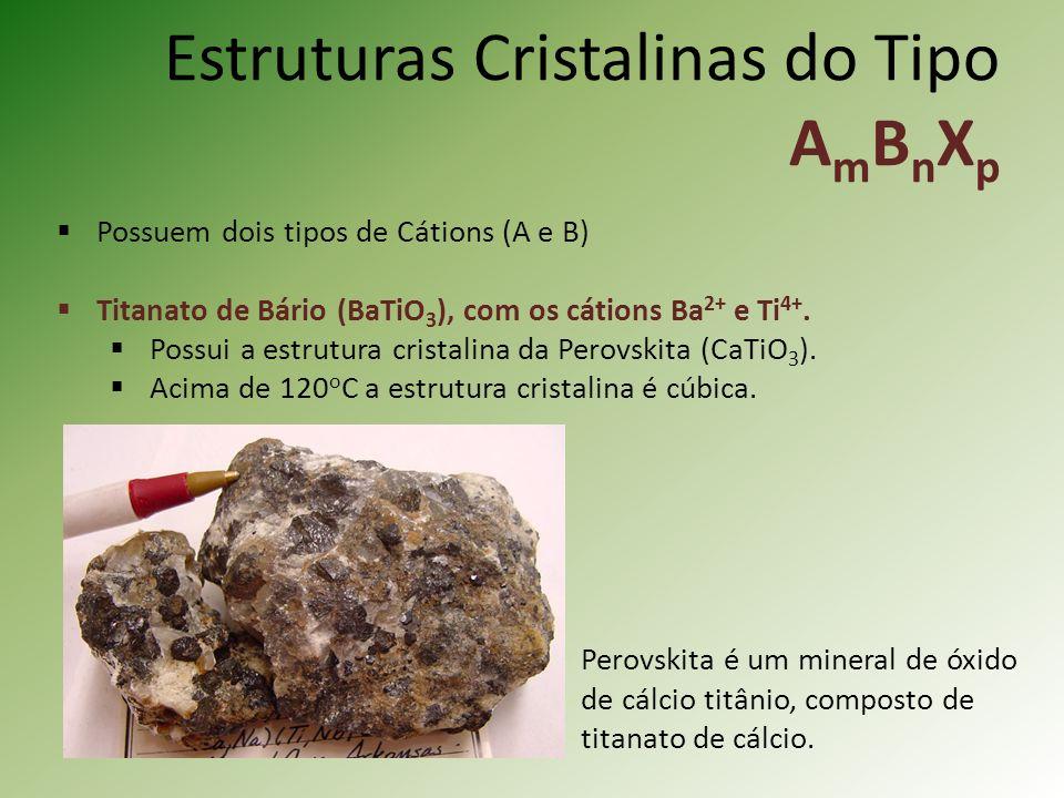 Estruturas Cristalinas do Tipo A m B n X p Possuem dois tipos de Cátions (A e B) Titanato de Bário (BaTiO 3 ), com os cátions Ba 2+ e Ti 4+.