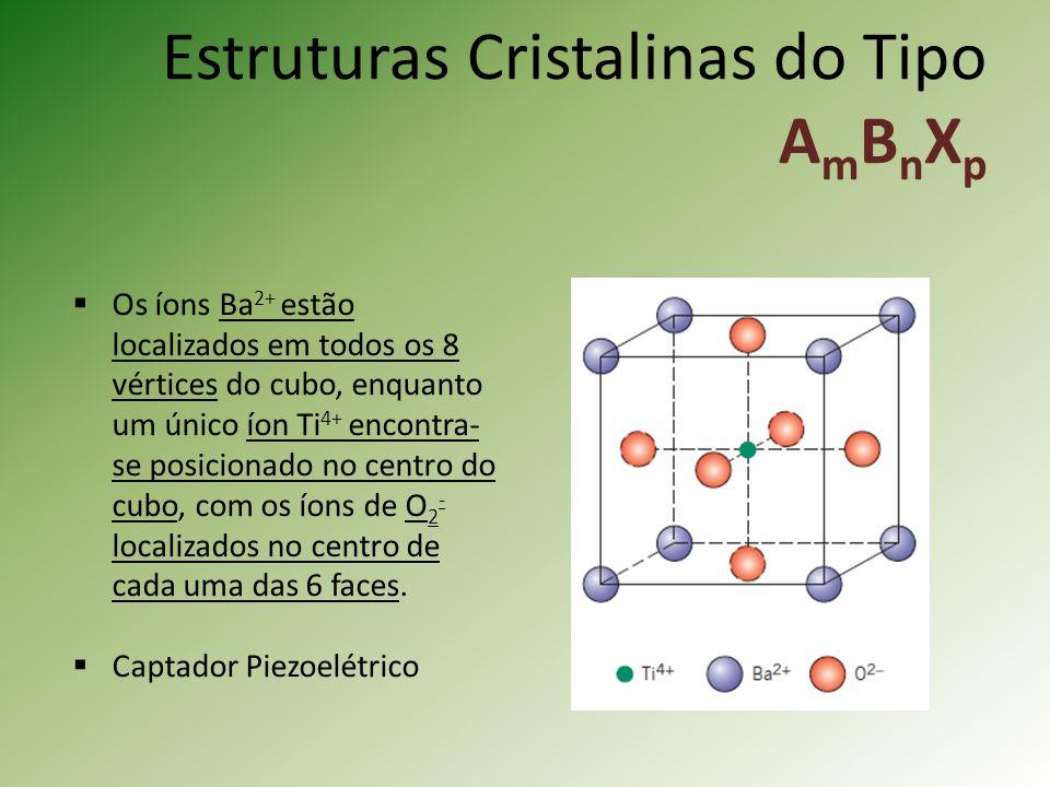 Estruturas Cristalinas do Tipo A m B n X p Os íons Ba 2+ estão localizados em todos os 8 vértices do cubo, enquanto um único íon Ti 4+ encontra- se posicionado no centro do cubo, com os íons de O 2 - localizados no centro de cada uma das 6 faces.