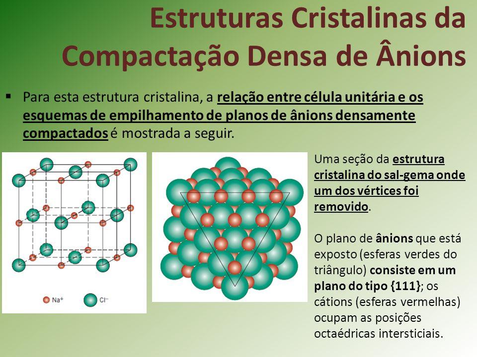Para esta estrutura cristalina, a relação entre célula unitária e os esquemas de empilhamento de planos de ânions densamente compactados é mostrada a seguir.
