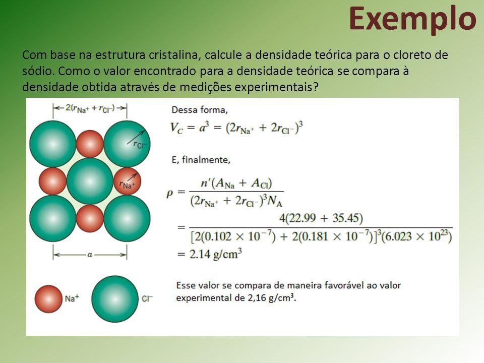 Com base na estrutura cristalina, calcule a densidade teórica para o cloreto de sódio.