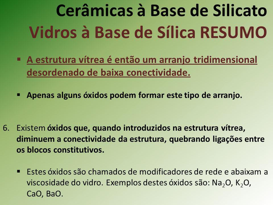 Cerâmicas à Base de Silicato Vidros à Base de Sílica RESUMO A estrutura vítrea é então um arranjo tridimensional desordenado de baixa conectividade.