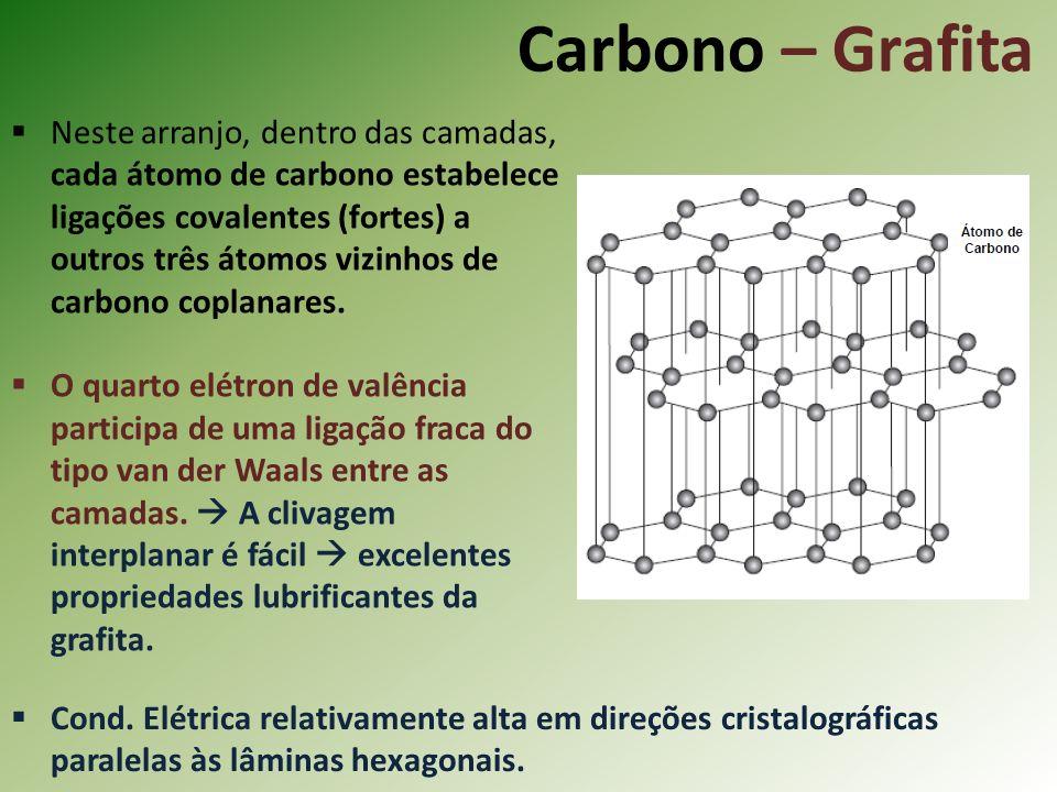 Carbono – Grafita Neste arranjo, dentro das camadas, cada átomo de carbono estabelece ligações covalentes (fortes) a outros três átomos vizinhos de carbono coplanares.