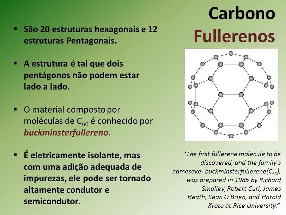 Carbono Fullerenos São 20 estruturas hexagonais e 12 estruturas Pentagonais.