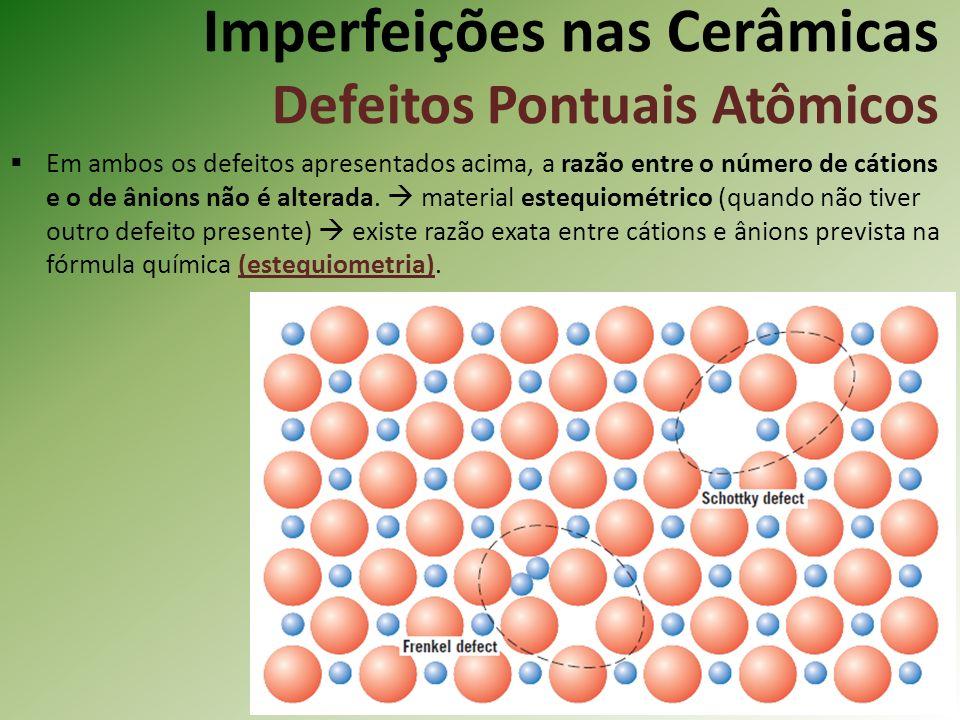Imperfeições nas Cerâmicas Defeitos Pontuais Atômicos Em ambos os defeitos apresentados acima, a razão entre o número de cátions e o de ânions não é alterada.