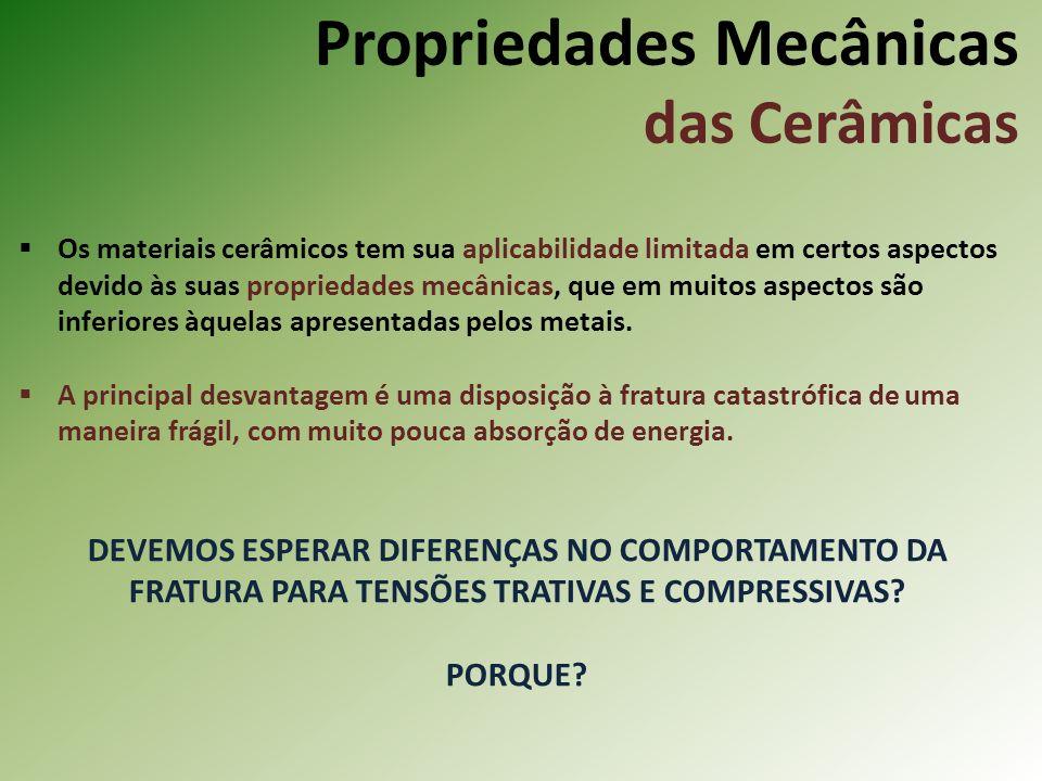 Propriedades Mecânicas das Cerâmicas Os materiais cerâmicos tem sua aplicabilidade limitada em certos aspectos devido às suas propriedades mecânicas, que em muitos aspectos são inferiores àquelas apresentadas pelos metais.