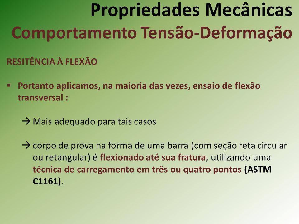 Propriedades Mecânicas Comportamento Tensão-Deformação RESITÊNCIA À FLEXÃO Portanto aplicamos, na maioria das vezes, ensaio de flexão transversal : Mais adequado para tais casos corpo de prova na forma de uma barra (com seção reta circular ou retangular) é flexionado até sua fratura, utilizando uma técnica de carregamento em três ou quatro pontos (ASTM C1161).