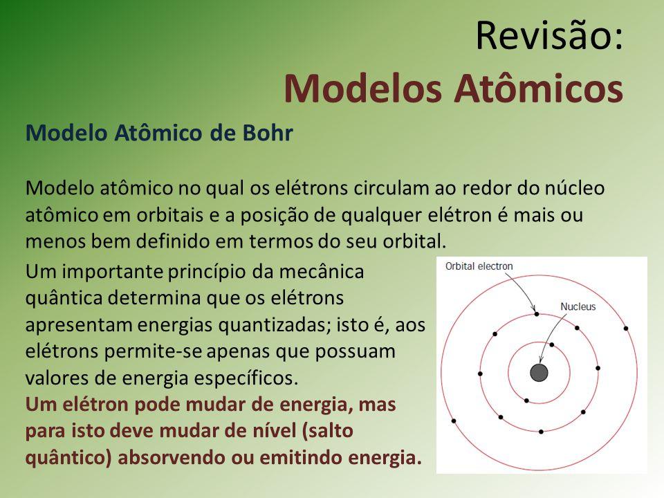 Revisão: Modelos Atômicos Modelo Atômico de Bohr Modelo atômico no qual os elétrons circulam ao redor do núcleo atômico em orbitais e a posição de qualquer elétron é mais ou menos bem definido em termos do seu orbital.