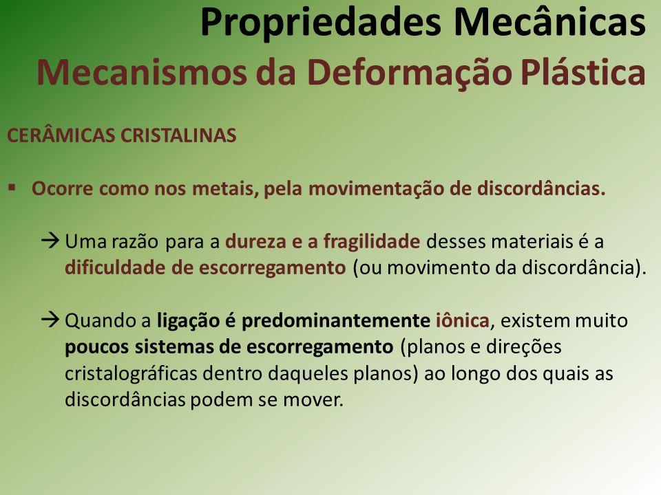 Propriedades Mecânicas Mecanismos da Deformação Plástica CERÂMICAS CRISTALINAS Ocorre como nos metais, pela movimentação de discordâncias.
