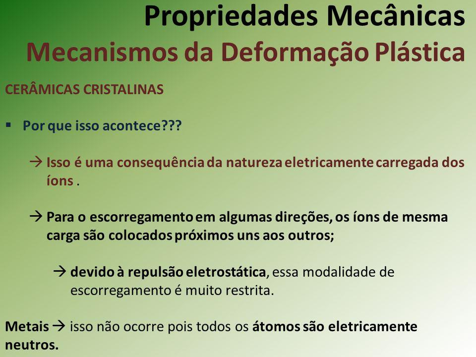 Propriedades Mecânicas Mecanismos da Deformação Plástica CERÂMICAS CRISTALINAS Por que isso acontece??.